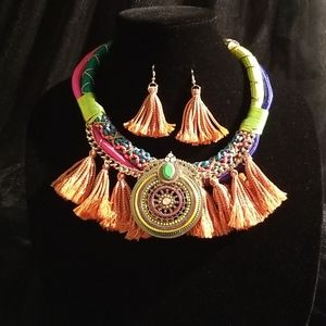 Neon Rope Tassel Necklace Set